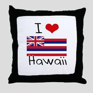 I HEART HAWAII FLAG Throw Pillow