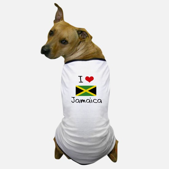 I HEART JAMAICA FLAG Dog T-Shirt