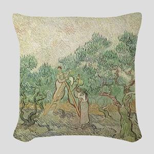 Van Gogh Olive Picking Woven Throw Pillow