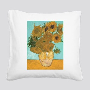 Van Gogh Vase with Sunflowers Square Canvas Pillow
