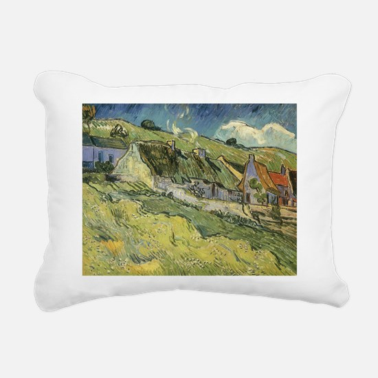 Van Gogh Thatched Cottages Rectangular Canvas Pill