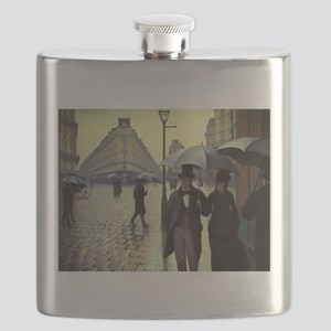 Paris Street Rainy Day by Caillebotte Flask