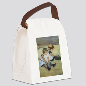 Cassatt Children Playing on Beach Canvas Lunch Bag