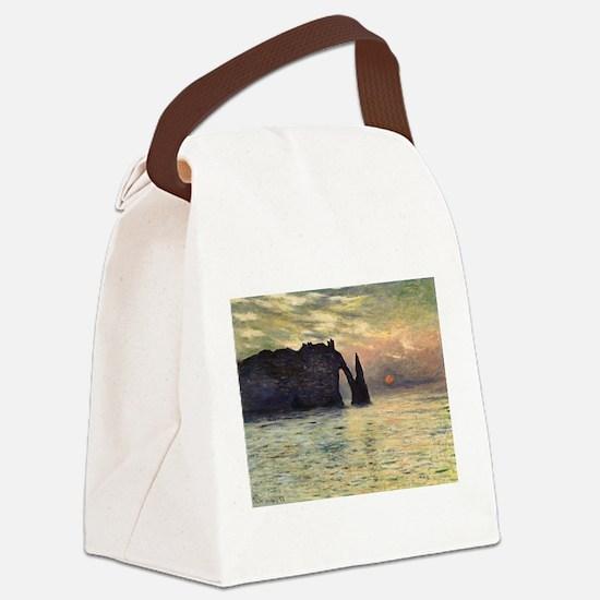 Claude Monet, Cliff Etretat Sunset Canvas Lunch Ba