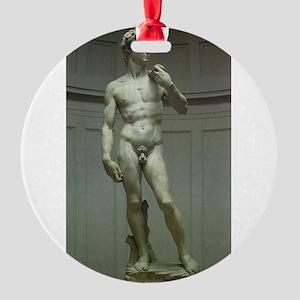 Statue of David by Michelangelo Round Ornament