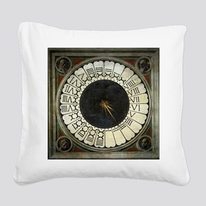 Clock in the Duomo by Uccello Square Canvas Pillow