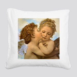 First Kiss by Bouguereau Square Canvas Pillow