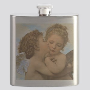 First Kiss by Bouguereau Flask