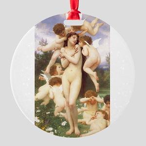 Le Printemps by Bouguereau Round Ornament