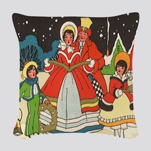 Vintage Christmas Carolers Singing Woven Throw Pil