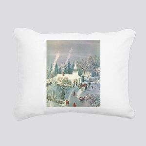 Vintage Christmas Church Rectangular Canvas Pillow