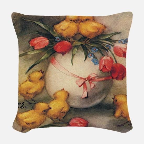 Vintage Easter Woven Throw Pillow