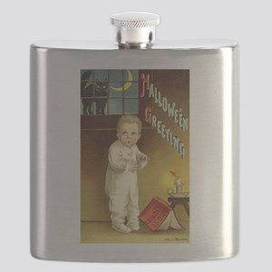 Vintage Halloween Greetings Flask
