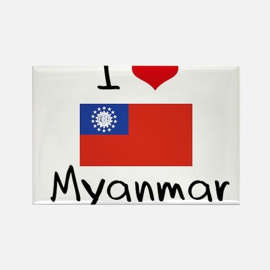 I HEART MYANMAR FLAG Rectangle Magnet