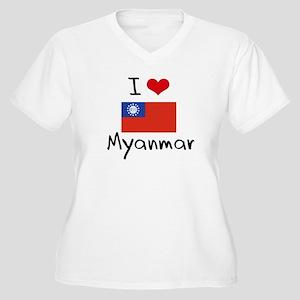 I HEART MYANMAR FLAG Plus Size T-Shirt