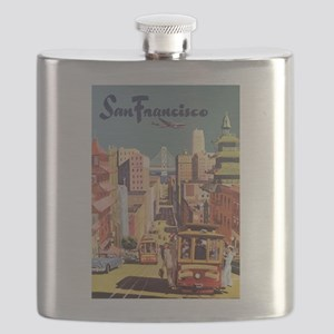 Vintage Travel Poster San Francisco Flask