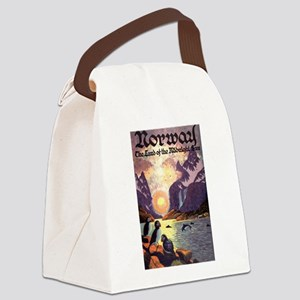 Vintage Travel Poster Norway Canvas Lunch Bag