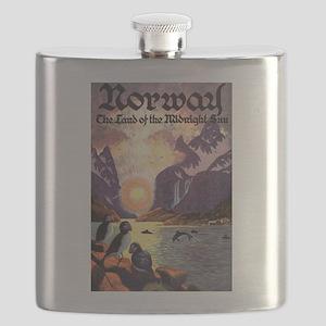 Vintage Travel Poster Norway Flask