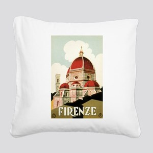 Vintage Travel Poster Firenze Square Canvas Pillow