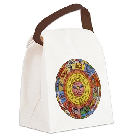 Vintage Celestial, Zodiac Wheel Canvas Lunch Bag