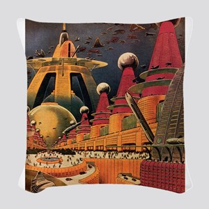 Vintage Science Fiction Futuristic City Woven Thro
