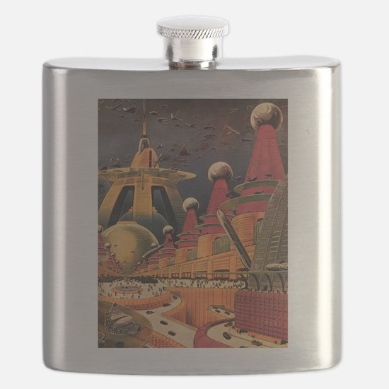 Vintage Science Fiction Futuristic City Flask
