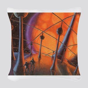 Vintage Science Fiction Planet Woven Throw Pillow