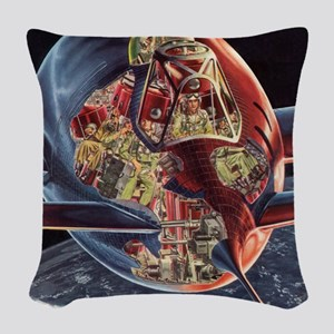 Vintage Science Fiction Woven Throw Pillow