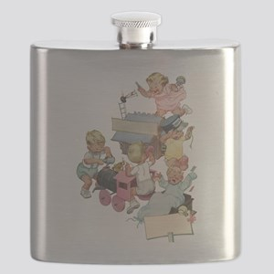 Vintage Children Playing Flask