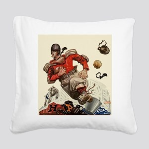 Vintage Sports Football Square Canvas Pillow
