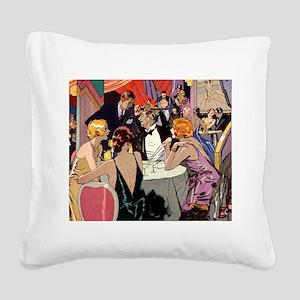 Vintage Cocktail Party Square Canvas Pillow