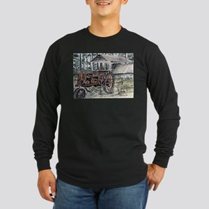 farm tractor folk art print Long Sleeve T-Shirt