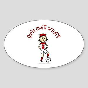 Light Red Soccer Oval Sticker