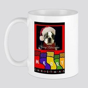 MERRY CHRISTMAS BOSTON TERRIER LOOK Mug
