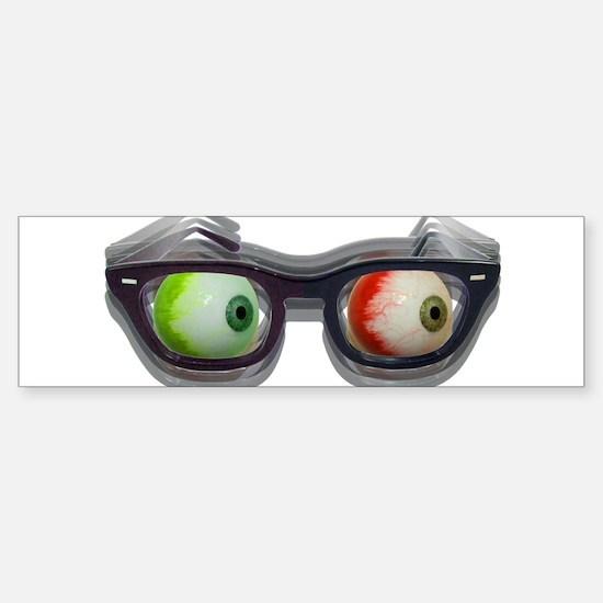 Look Out! Bloodshot Eyebal Glasses Bumper Bumper Bumper Sticker