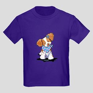 Brittany Spaniel Girl Kids Dark T-Shirt