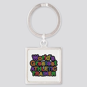 World's Greatest ATHLETIC TRAINER Square Keychain