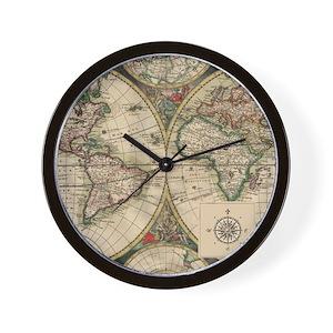 Antique world map wall clocks cafepress gumiabroncs Images