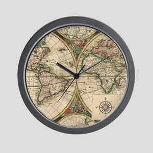 Antique world map wall clocks cafepress antique old world map wall clock gumiabroncs Image collections