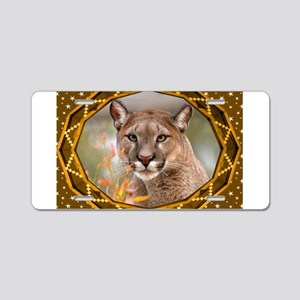 Geometric Cougar Aluminum License Plate