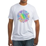 Rainbow Mosaic Magen David Fitted T-Shirt
