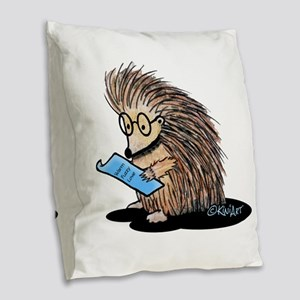 Warm Fuzzy Porcupine Burlap Throw Pillow