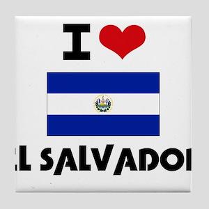I HEART EL SALVADOR FLAG Tile Coaster
