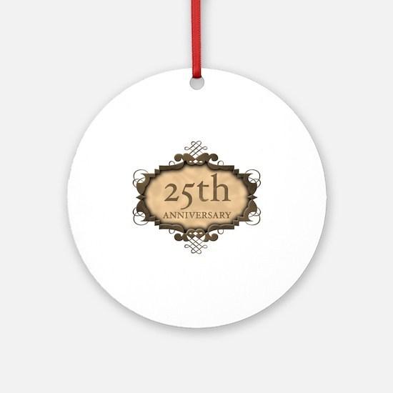 25th Aniversary (Rustic) Ornament (Round)