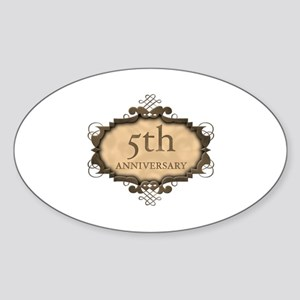 5th Aniversary (Rustic) Sticker (Oval)