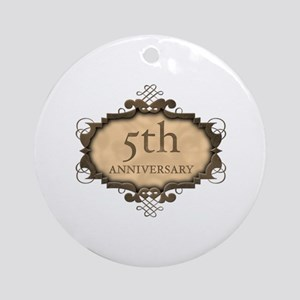 5th Aniversary (Rustic) Ornament (Round)
