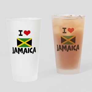 I HEART JAMAICA FLAG Drinking Glass