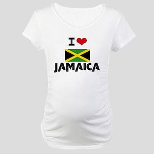 I HEART JAMAICA FLAG Maternity T-Shirt