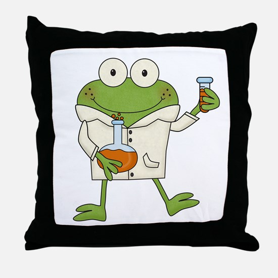 Frog Scientist Throw Pillow