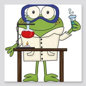 "Frog in Science Lab Square Car Magnet 3"" x 3"""